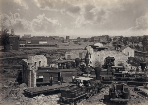 The ruins of the Atlanta rail roundhouse, July 1864