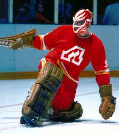 Atlanta Flames goalie, Daniel Bouchard, c. 1977